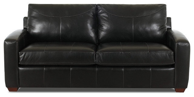 Boulder Leather Queen Sleeper Sofa in Durango Black, Durango Black, Queen  Sleepe contemporary- - Boulder Leather Queen Sleeper Sofa In Durango Black - Contemporary