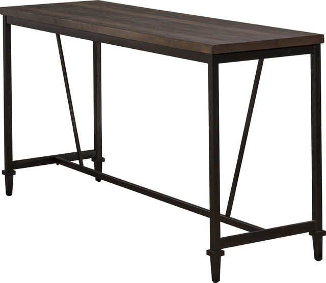 Trevino Counter Height Table/bar, Distressed Walnut, Copper Brown Metal.