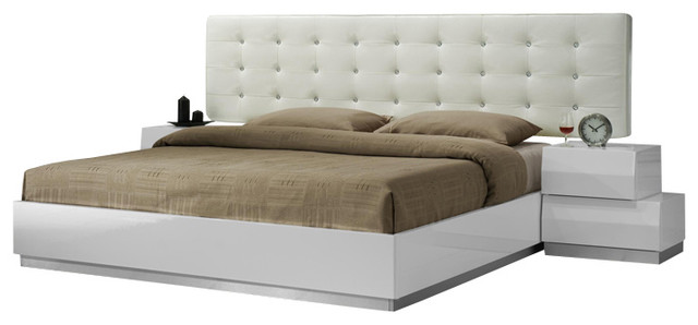 Milan White Lacquer Stacked Block Design Queen Size Bedroom Set ...