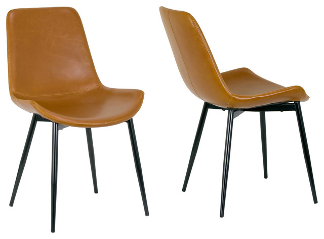 Alary Caramel Brown Faux Leather Dining Chairs With Black Iron Legs, Set Of 2