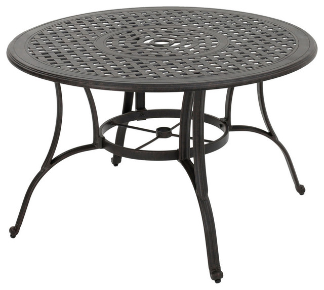 Gdf Studio Fonzo Outdoor Bronze Cast Aluminum Circular Dining Table Only Transitional Tables By Gdfstudio