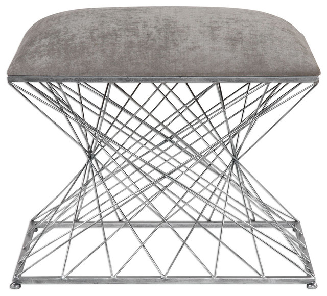 Zelia Ottomans & Stools, Stony Gray Chenille Fabric And Burnished Silver.