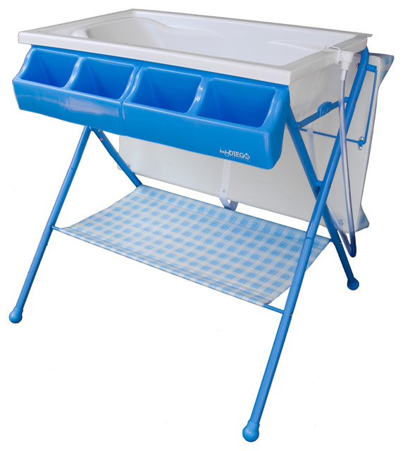 Standard Bathinette, Foldable Bathtub and Changer Combo, Blue