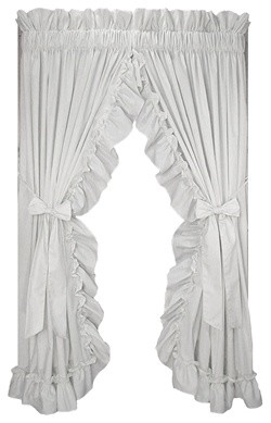 Stephanie 86x45 Ruffled Priscilla Curtains Bow Tie Backs 15 RP