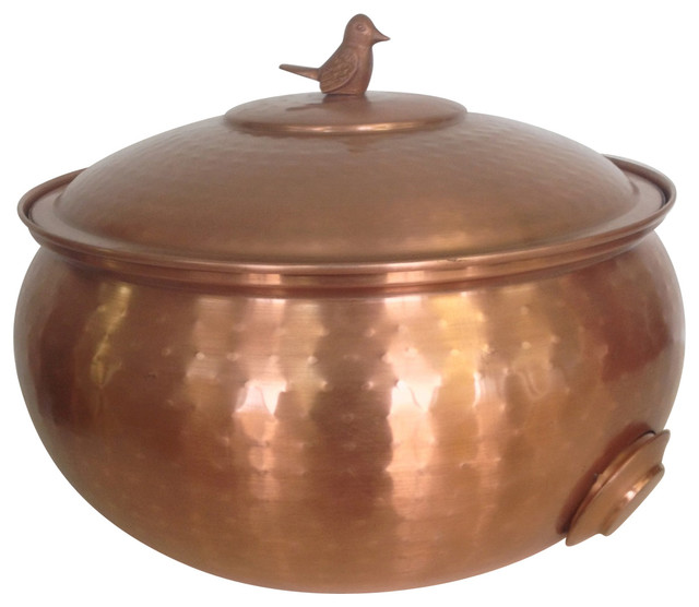 Copper Plated Hose Holder With Lid Contemporary Garden