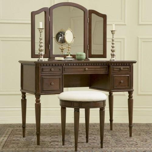 Powell Camelot Warm Cherry Bedroom Vanity Set Traditional