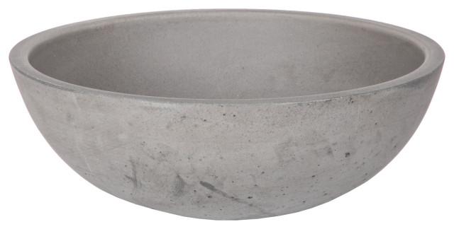 Modern Concrete Small Round Bathroom Vessel Sink, 14 Inch ...