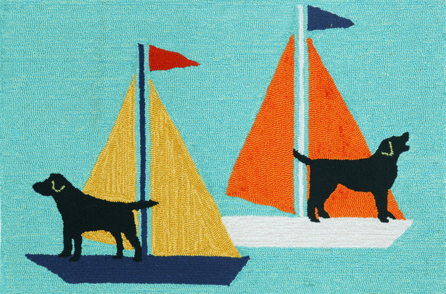 Frontporch Sailing Dogs Rug, Aqua, 30x48 by Transocean