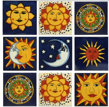 Sun Mexican Tile Design Collection 9 Tile Set