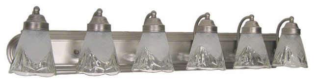 "Brushed Nickel And Decorative Glass 6-Light 35"" Bath Wall."