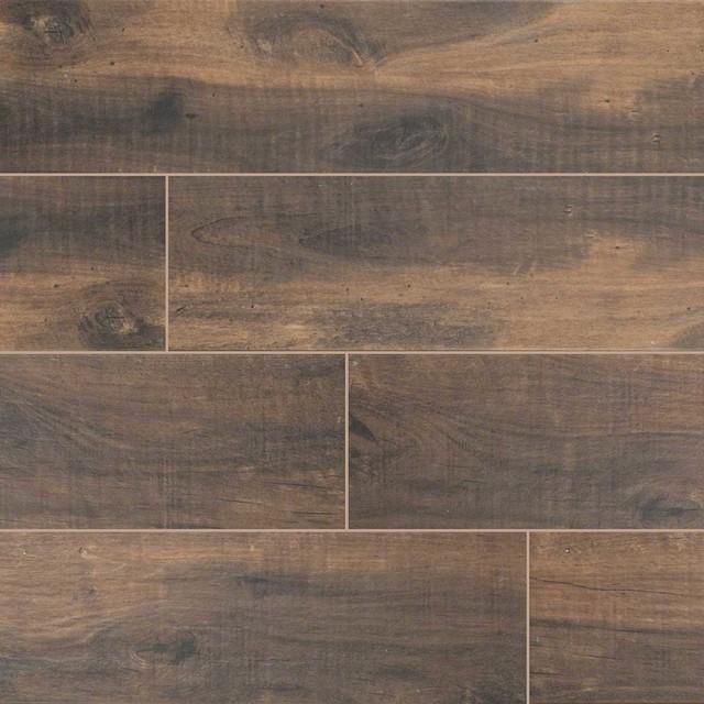 Dark Brown Floor Tile: Polished Light Brown, Dark Brown Bark County River