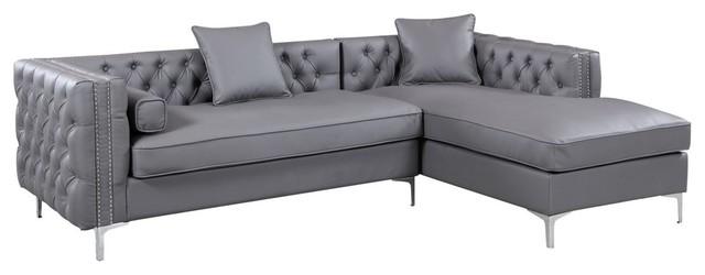 Da Vinci PU Leather Button Tufted, Right Facing Sectional Sofa ...