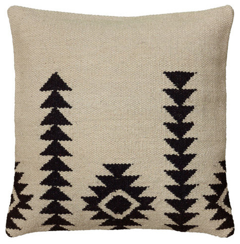 """18""""x18""""ivory Decorative Pillow With Woven Southwestern Patten."""