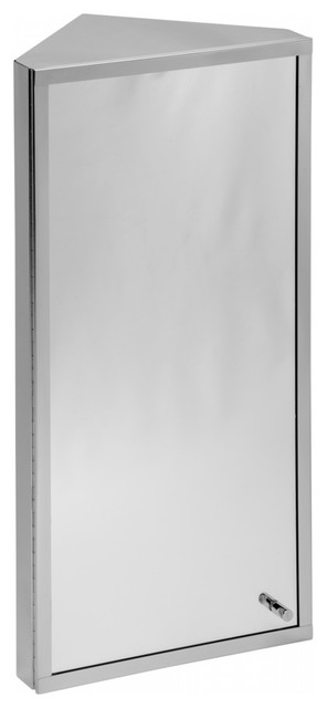 Stainless Steel Corner Wall Mount Bathroom Medicine Cabinet With Mirror.