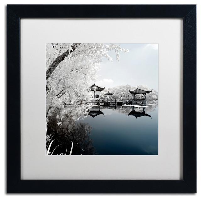 "Philippe Hugonnard &x27;blue Lake I&x27; Art, Black Frame, White Matte, 16""x16""."