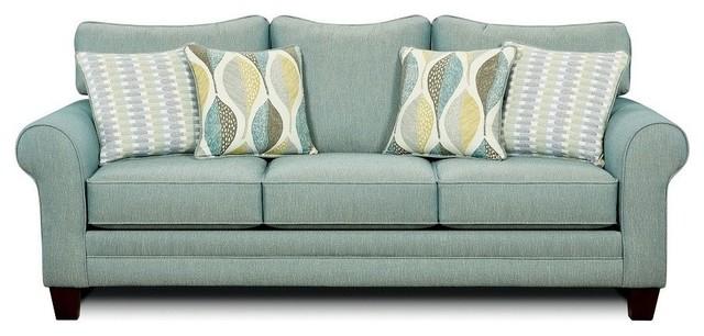 Brubeck Soft Teal High Density Foam Cushion Sofa Contemporary Sofas