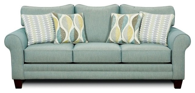Merveilleux Brubeck High Density Foam Cushion Sofa, Soft Teal