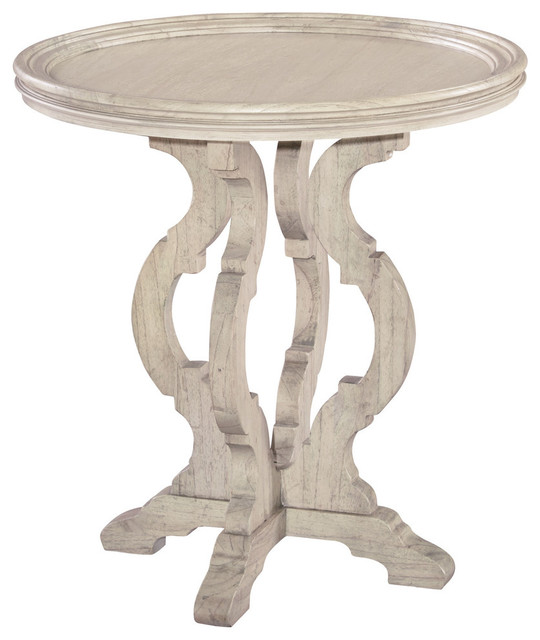 Emma Mason Signature Sunshine Round End Table In Vintage White    Traditional   Side Tables And End Tables   By Emma Mason