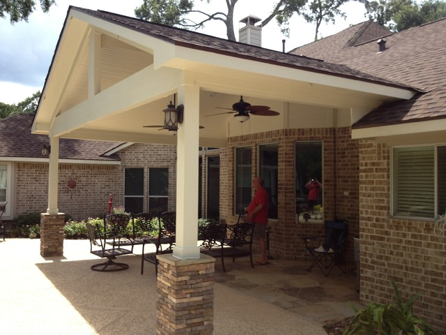 Covered patio traditional patio houston by magnolia patio covers - Two story house plans with covered patios ...