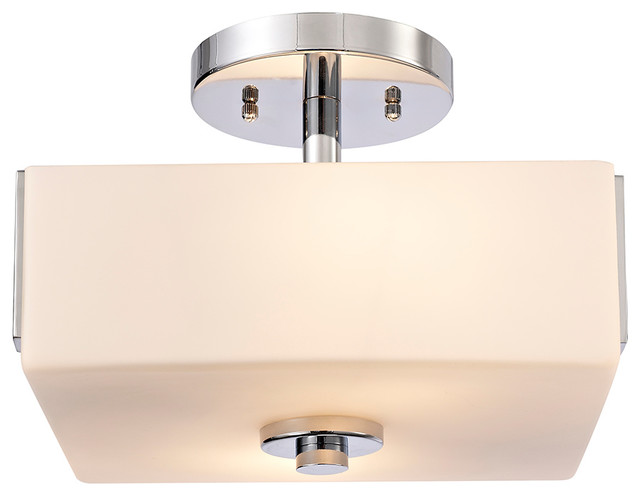 Karsen 2-Light Semi Flush Ceiling Light, Polished Chrome.