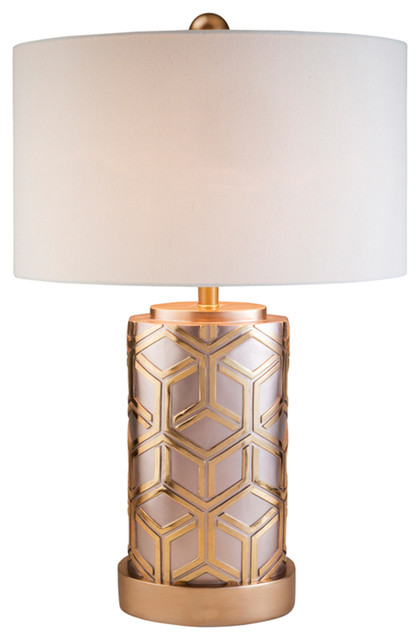 29 Tall Polyresin Table Lamp Weave Rose Gold Design