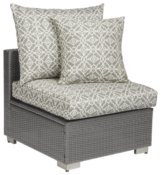 Azura Outdoor Smoke Gray Rattan Armless Chair, Warm Gray.
