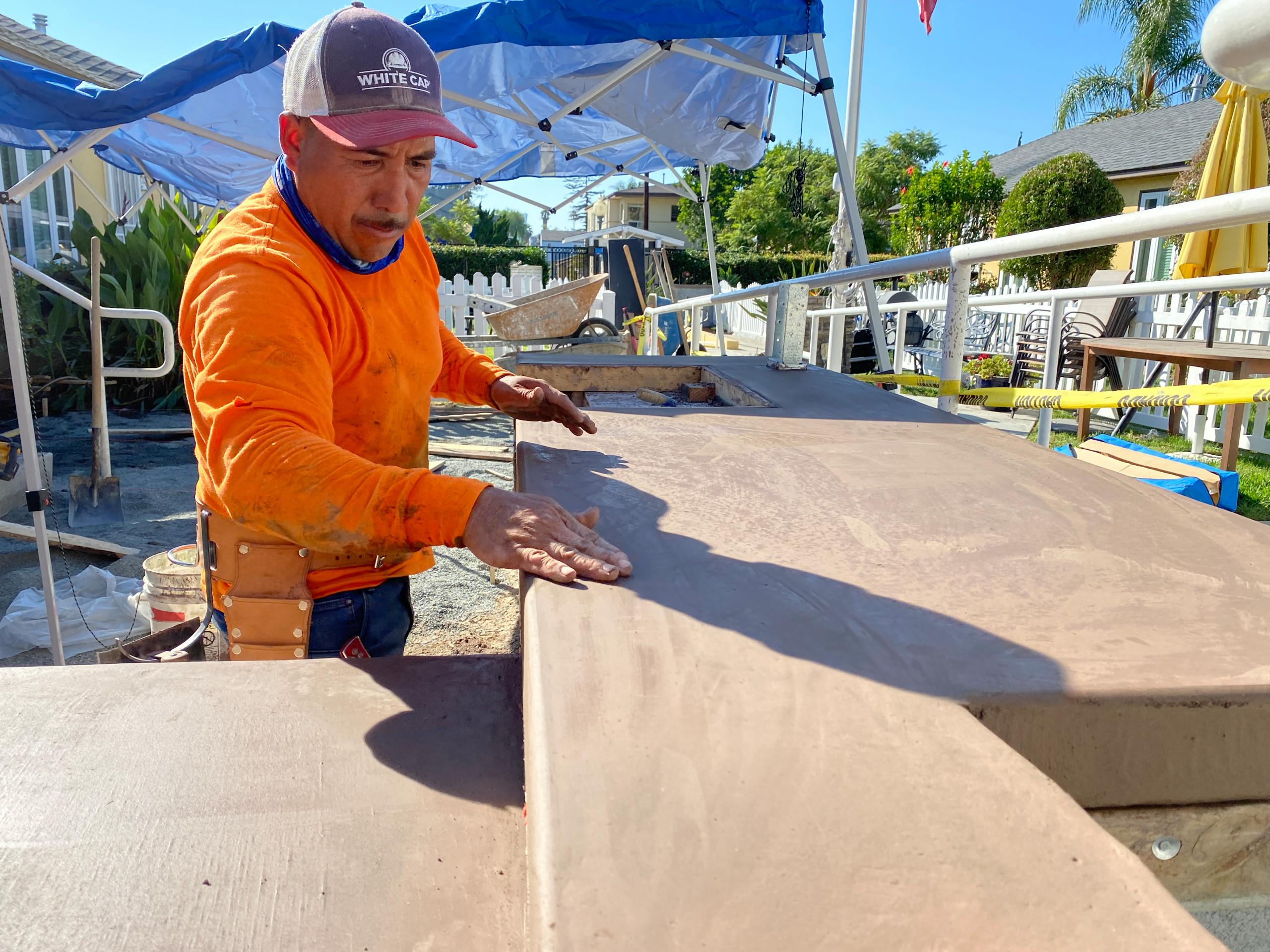 Finishing a Concrete Countertop BBQ Island