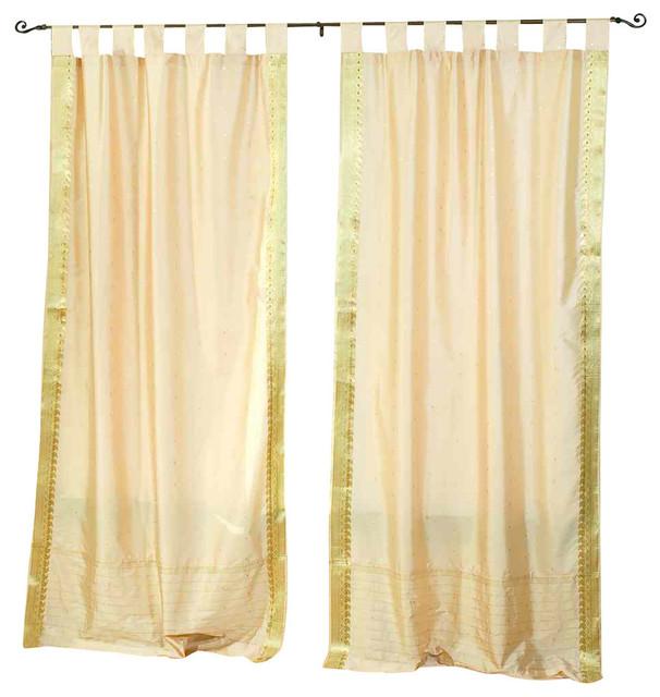 Indian Selections Golden Tab Top Sheer Sari Curtain Drape And Panel Pair Curtains Houzz