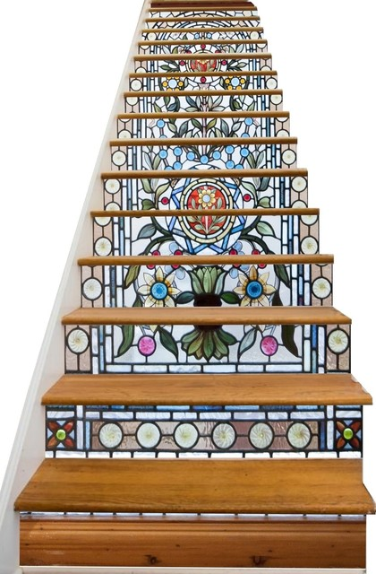 Stained Glass Flowers Decorative Adhesive Vinyl Stair