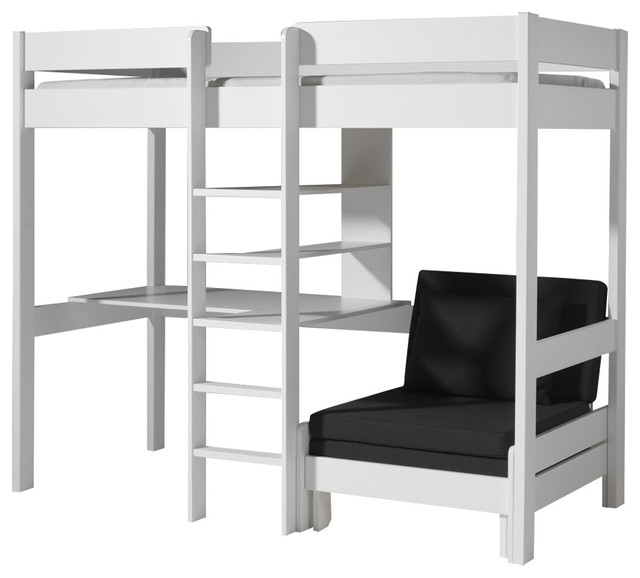 Alfred & Companie Armance Faustin Loft Bed With Bench, White.