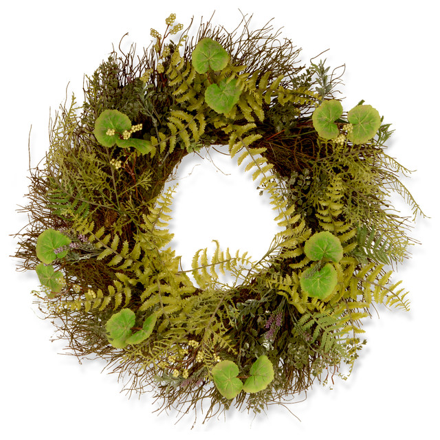 "24"" Garden Accents Fern And Lavender Wreath."