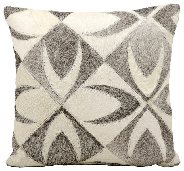 Mina Victory Natural Leather Hide Wishbone Gray Throw Pillow.