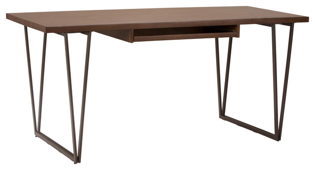 Ryder Solid Wood Modern 66 Wide Writing Office Desk Natural Aged Brown