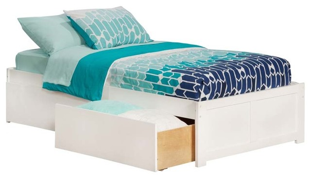 Concord Flat Panel Footboard With 2 Urban Bed Drawers, White, Twin.