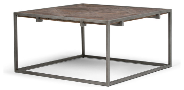Incredible Avery Solid Wood Square Coffee Table Distressed Java Brown Wood Inlay Lamtechconsult Wood Chair Design Ideas Lamtechconsultcom