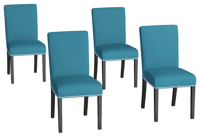 Hammada Upholstered Dining Chairs, Set Of 4, Blue.