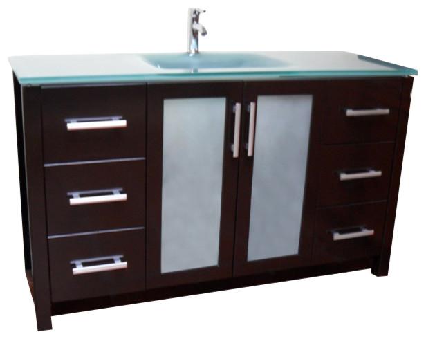 Frost Green Glass Modern Contemporary Bathroom Vanity, Espresso, 55.