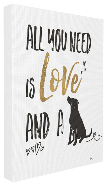 """Dog Lover Typography, 16""""x20"""", Stretched Canvas Wall Art"""