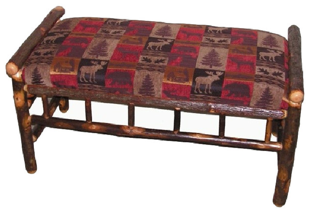 Rustic Hickory Upholstered Bench, Cabin Collection.