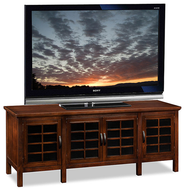 60 Tv Entertainment Center Part - 17: Chocolate And Black Glass TV Stand Transitional-entertainment-centers-and-tv -