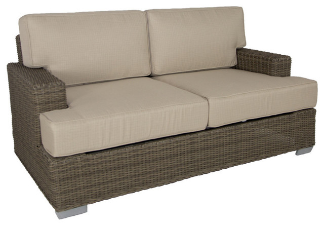 Palisades Outdoor Love Seat With Sunbrella Cushions, Gray With Navy Blue  Transitional Outdoor