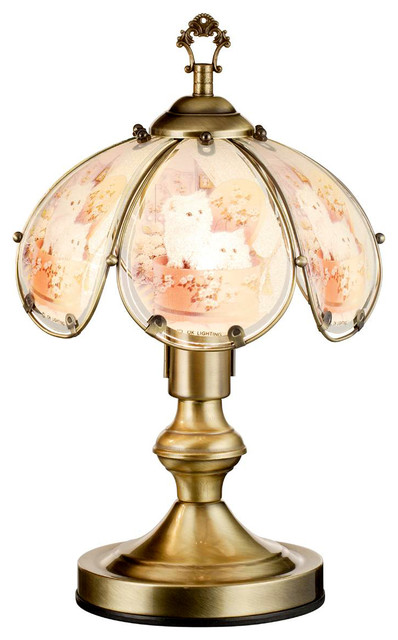 14 25 Tall Metal Touch Table Lamp With Antique Brass Finish Pure Kitten Shade