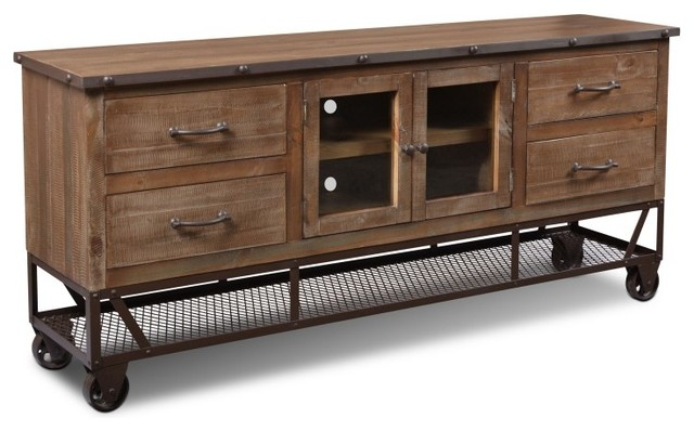 "Rustic Industrial Style 72"" TV Stand/Sideboard Console - Industrial - Media Cabinets - by ..."