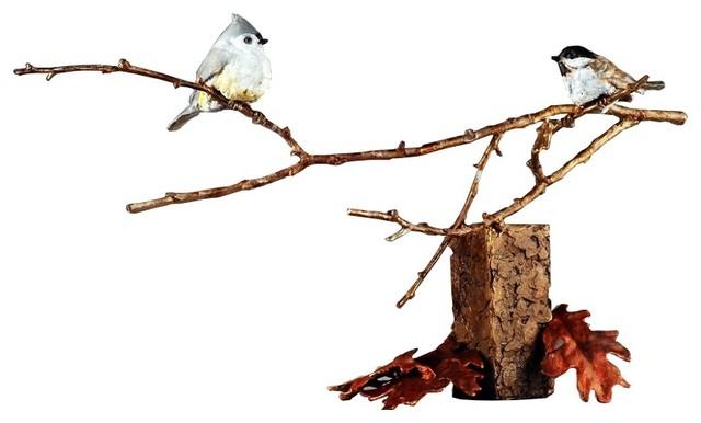 Chickadee Bronze Bird Sculpture Close Encounter
