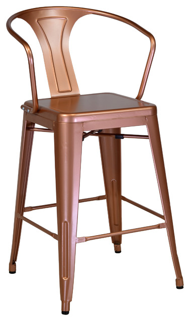 Retro Cafe Bastille Counter Stool Copper With Back