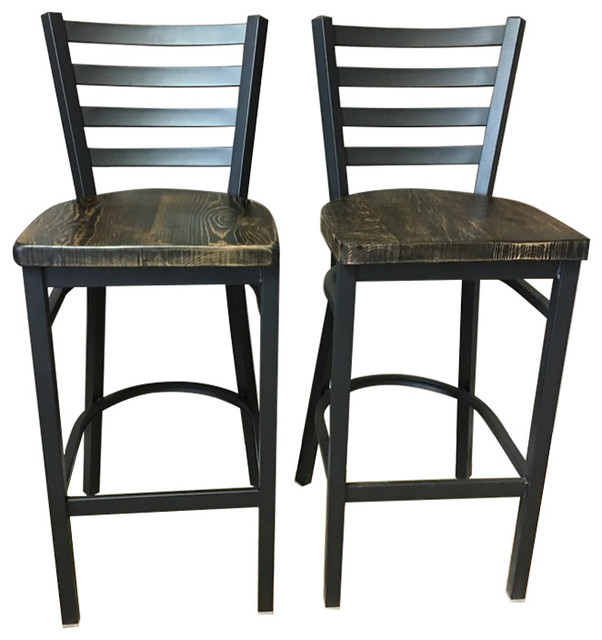 Reclaimed 30 Bar Stool With Ladder Back Set Of 2 Transitional