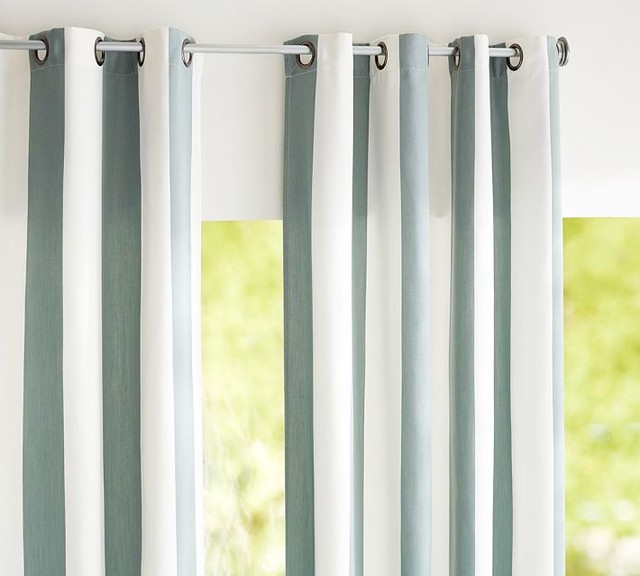 Sunbrella Indoor Outdoor Grommet Drape Spa Contemporary Curtains By Pottery Barn