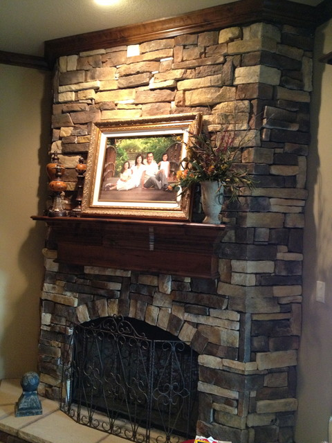 Faux stone fireplace - Eclectic - Dallas - by Gigi's ...