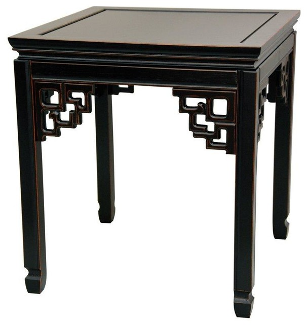 Rosewood Square Ming Table, Antique Black - Rosewood Square Ming Table, Antique Black - Asian - Side Tables And