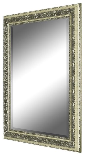 "Heirloom Silver Wall Mirror, 18.5""x36.5""."